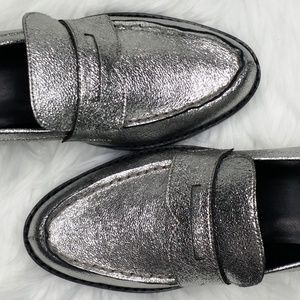 Marc Fisher Shoes - Marc Fisher Womens Vero Leather Loafers - Pewter